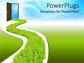 PowerPlugs: PowerPoint template with white road with fresh green grass going to open door that leads to clear blue sky