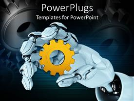 PowerPoint template displaying white robot hand holding yellow spur gear