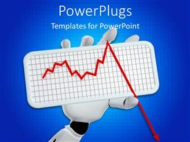 PowerPoint template displaying white robotic hand holding up a short graph plate