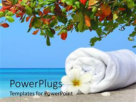 PowerPlugs: PowerPoint template with white rolled up towel with a flower on a tropical beach