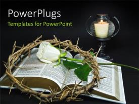 PowerPlugs: PowerPoint template with white Rose and crown of thorns over open bible