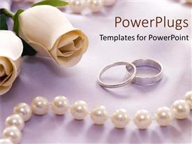 PowerPlugs: PowerPoint template with white roses rings and pearls as a metaphor for loyalty eternity love and promise on a grey background