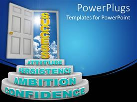 PowerPlugs: PowerPoint template with white round flight of stairs leading to a white door