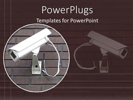 PowerPlugs: PowerPoint template with white security camera on brick wall in brown background