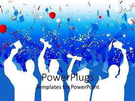 PowerPlugs: PowerPoint template with white silhouettes of graduates with caps and diplomas celebrating graduation with balloons, streamers, confetti