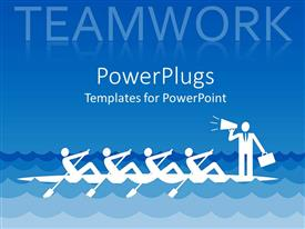 PowerPlugs: PowerPoint template with white silhouettes of people in a boat with four people with paddles and one business man with suitcase in one hand and bullhorn in other hand leading the team to work together teamwork concept