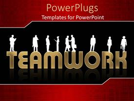 PowerPoint template displaying white silhouettes of people standing on the word team work