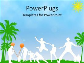 PowerPoint template displaying white silhouettes of people in tropical setting with palm trees and grass