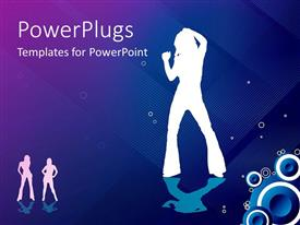 Beautiful PPT theme with white silhouettes of women dancing, speakers, blue and purple background