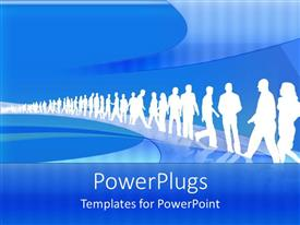 PowerPlugs: PowerPoint template with white silhouettes working men and women line up blue background