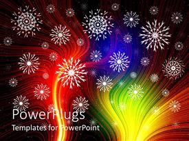 PowerPlugs: PowerPoint template with white snowflakes on multicolored fiber optic background