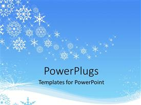 PowerPoint template displaying white snowflakes snowing in winter on a blue background