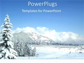 PowerPlugs: PowerPoint template with white snowy winter mountains blue skies christmas holidays vacation snowboarding