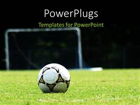 PowerPlugs: PowerPoint template with white soccer ball on green grass field