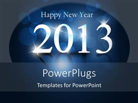 PowerPoint template displaying white sparkling new year text on blue background