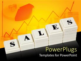 PowerPoint template displaying white stack of increasing tabs showing the word Sales