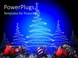 PowerPlugs: PowerPoint template with white stars arranged in Christmas tree shapes with blue background