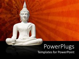 PowerPoint template displaying white statue of Buddha on a black and red background