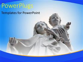 PowerPlugs: PowerPoint template with a white statue of Mother Mary and Baby Jesus