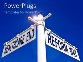 PowerPlugs: PowerPoint template with white street sign marking intersection of Healthcare End and Reform Way