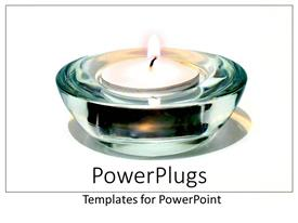 PowerPoint template displaying white tea light candle in glass holder on plain white background