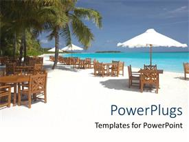 PowerPoint template displaying white tents with chairs on a white sand beach