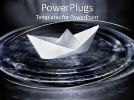 PowerPoint template displaying white toy paper boat on a small puddle of water