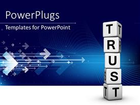 PowerPlugs: PowerPoint template with white TRUST cubes on each other over blue background with arrows