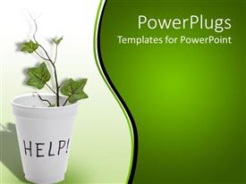 PowerPlugs: PowerPoint template with white vase with a plant with text Help on it