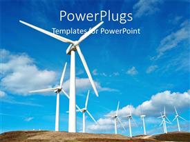PowerPlugs: PowerPoint template with white wind turbines in field with blue cloudy sky