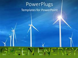 PowerPlugs: PowerPoint template with white wind turbines in huge green field under blue sky