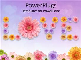 PowerPlugs: PowerPoint template with a whole lot of colorful flowers creating the word love
