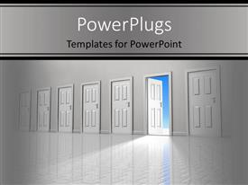 PowerPoint template displaying wide, empty corridor with row of six closed doors with one door open to reveal clear blue sky