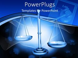 PowerPlugs: PowerPoint template with wight scale law balance with law tools on the blue background