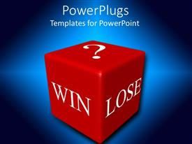 PowerPlugs: PowerPoint template with a win lose 3d box with blue background
