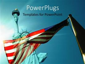 PowerPoint template displaying wind against American flag over statue of liberty