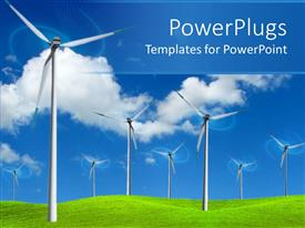 PowerPlugs: PowerPoint template with wind farm turbines to produce electricity in green field