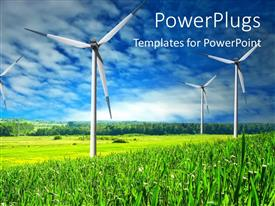 PowerPlugs: PowerPoint template with wind Mill landscape with blue sky in background