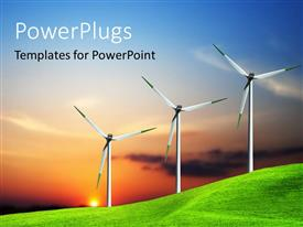 PowerPlugs: PowerPoint template with wind turbines farm over the sunset, ecology concept
