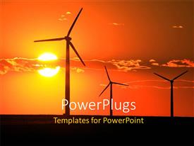 PowerPoint template displaying wind turbines with sunset shining in cloudy sky