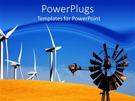 PowerPlugs: PowerPoint template with a windmill with desert in the background