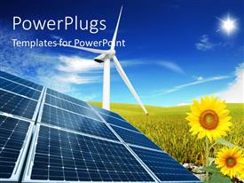 PowerPlugs: PowerPoint template with windmill with solar panels in cloudy sky and sunflower field