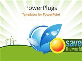 PowerPlugs: PowerPoint template with windmills in distance with depiction of nature preservation