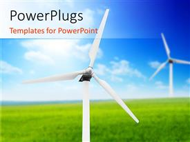PowerPlugs: PowerPoint template with windmills in large green field with blue cloudy sky in background