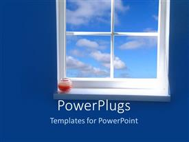 PowerPlugs: PowerPoint template with a window with clouds outside the window