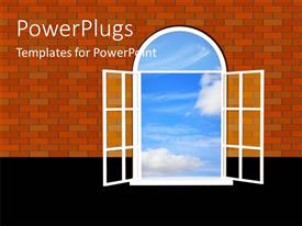 PowerPlugs: PowerPoint template with a window with a lot of clouds and a wall