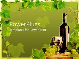 PowerPoint template displaying a wine bottle with a glass cup with some liquid in it