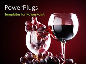 PowerPoint template displaying wine glass with red wine and red grapes over a dark maroon background