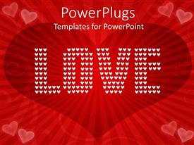 PowerPlugs: PowerPoint template with wine love shape in background with text LOVE written with white dots