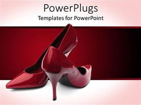 PowerPoint template displaying wine and red background with a pair of red stiletto heel shoes